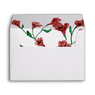 Ruby Red Clematis Watercolor Floral Wedding Envelope
