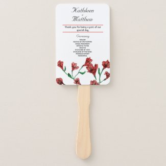 Ruby Red Clematis Watercolor Floral Wedding Hand Fan