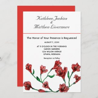 Ruby Red Clematis Watercolor Floral Wedding Invitation