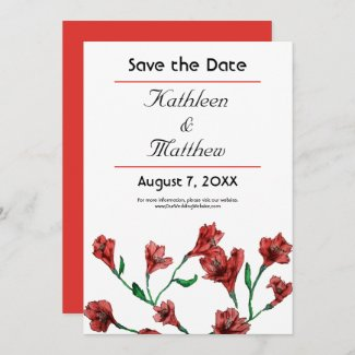 Ruby Red Clematis Watercolor Floral Wedding Save The Date