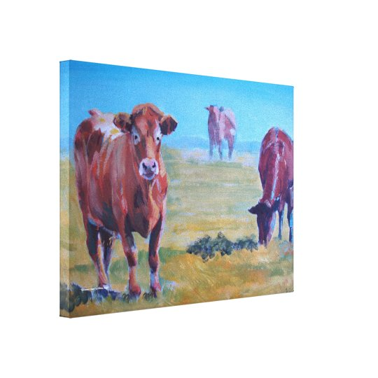 Ruby Red Cows in a Devon Field on a Sunny Hazy Day Canvas Print