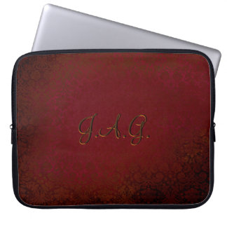 Ruby Red Damask Computer Sleeve