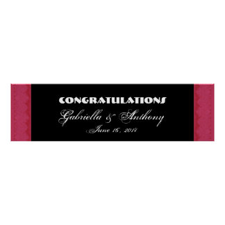 Ruby Red Damask  Lace Wedding or Engagement Banner Posters