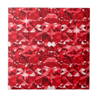 Ruby Red Diamonds Small Square Tile