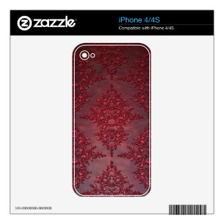 Ruby Red Distressed Damask Skin For The iPhone 4