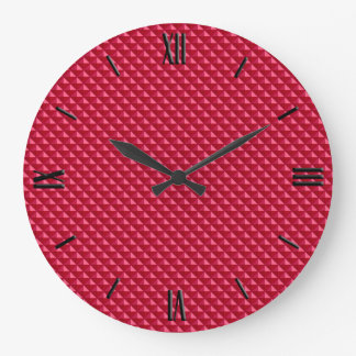 Ruby red, enamel look, studded grid large clock