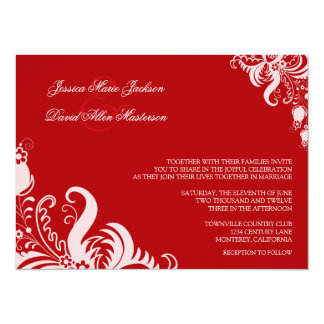 """Ruby Red Floral Accent Wedding Invitation 5.5"""" X 7.5"""" Invitation Card"""