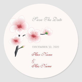 Ruby Red Flowers Save The Date Classic Round Sticker