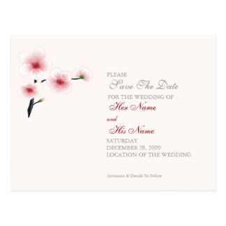 Ruby Red Flowers Wedding/Save The Date Card
