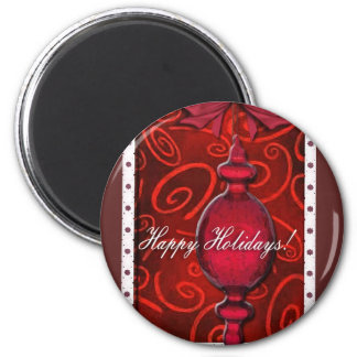 Ruby Red Glass Ornament 2 Inch Round Magnet