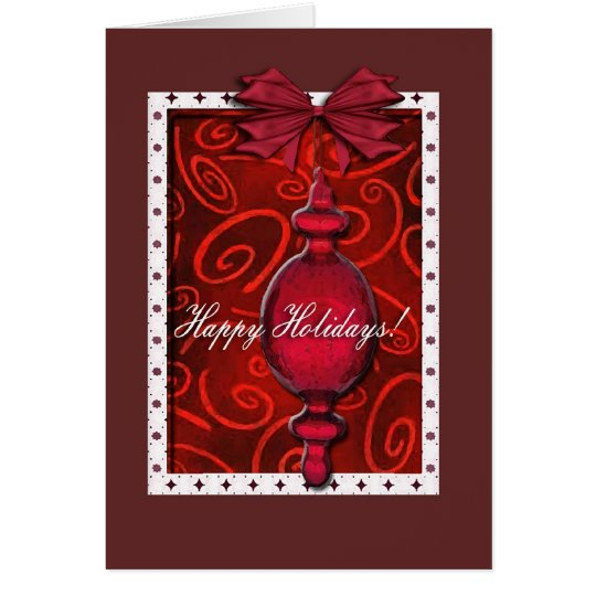 Ruby Red Glass Ornament Card