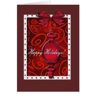 Ruby Red Glass Ornament Greeting Cards