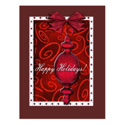 Ruby Red Glass Ornament Postcard