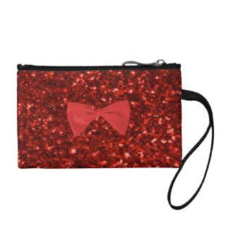Ruby Red Glitter Key Coin Clutch