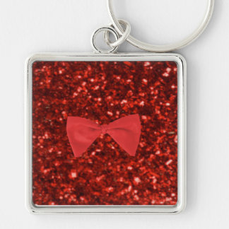 Ruby Red Glitter Keychain