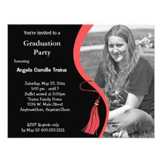 Ruby Red Graduation Horizontal Photo Invitation