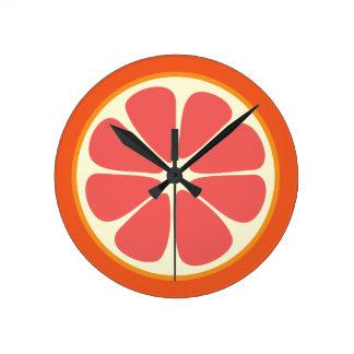 Ruby Red Grapefruit Citrus Fruit Slice Kitchen Round Clock