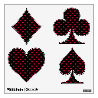 Ruby Red Heart, Poker Shapes Wall Stickers