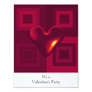 Ruby Red Heart Valentines Party Invitation