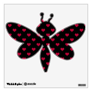 Ruby Red Hearts Dragonfly Wall Sticker