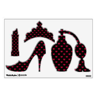 Ruby Red Hearts, Girly Wall Sticker