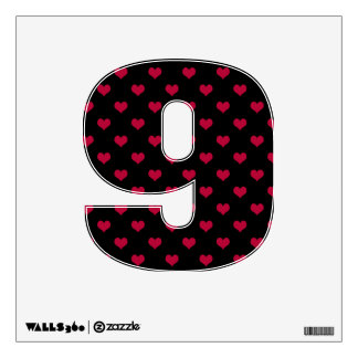 Ruby Red Hearts Number Nine 9 Wall Sticker