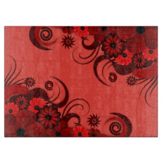 Ruby Red Hibiscus Floral Glass Chopping Board