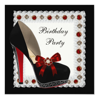 Ruby Red High Heel Shoe Birthday Party Invitations