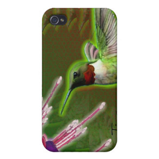 Ruby Red Hummingbird and Fuchsia iPhone 4/4S Cases