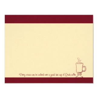 """Ruby Red Irish Coffee Cup Note Cards 4.25"""" X 5.5"""" Invitation Card"""