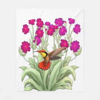 Ruby Red Jungle Hummingbird Fleece Blanket