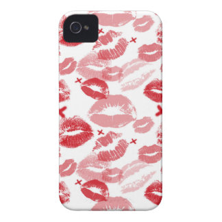 Ruby Red Kisses 4/4S Barely There iPhone Case iPhone 4 Cases