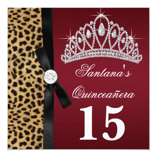 Ruby Red Leopard Quinceanera Invitations