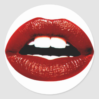 Ruby Red Lips Classic Round Sticker