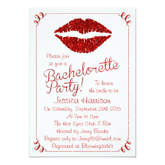 Ruby Red Lips Glitter Effect Bachelorette Party Card