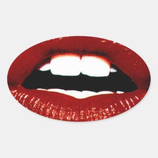 Ruby Red Lips Oval Sticker