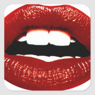 Ruby Red Lips Square Sticker