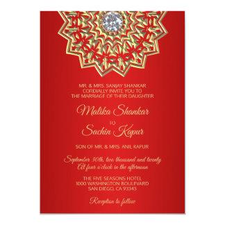 Ruby RED Mandala Gold Indian Wedding Invitations
