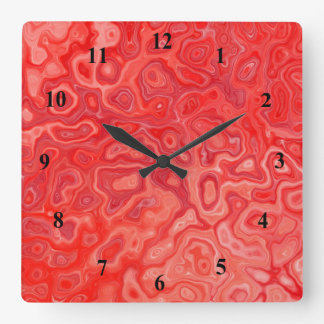 Ruby Red Marble Molten Lava Pattern Square Wall Clock