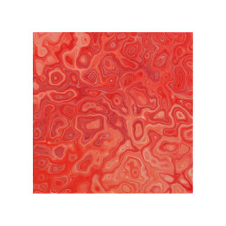 Ruby Red Marble Molten Lava Pattern Wood Wall Art