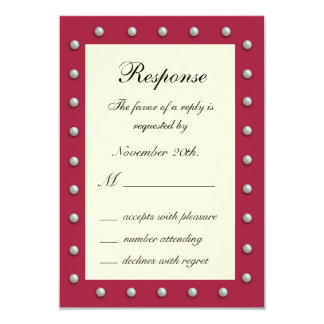 Ruby Red, Off White and Pearls RSVP 3.5x5 Paper Invitation Card
