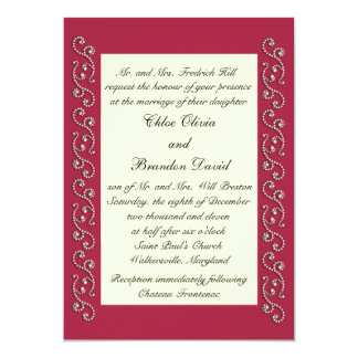 Ruby Red, Off White and Pearls Wedding Invitation