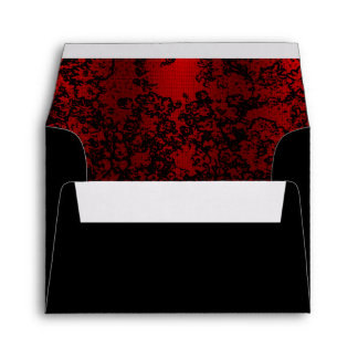 Ruby red on black floral vibrant elegant envelope