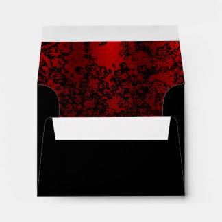 Ruby red on black floral vibrant elegant envelope