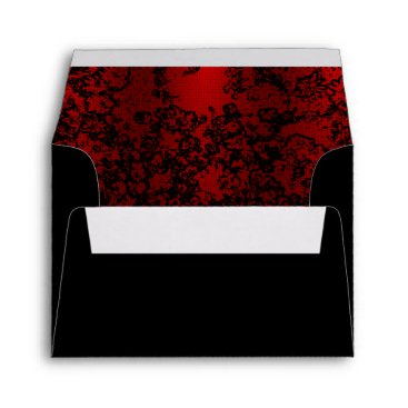 Professional Business Ruby red on black floral vibrant elegant envelope