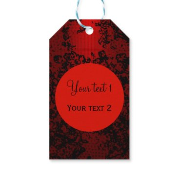 Professional Business Ruby red on black floral vibrant elegant gift tags