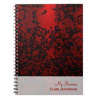 Ruby red on black floral vibrant elegant notebooks
