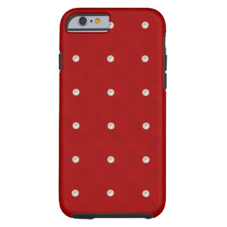 Ruby Red Pearl Stud Quilted Tough iPhone 6 Case