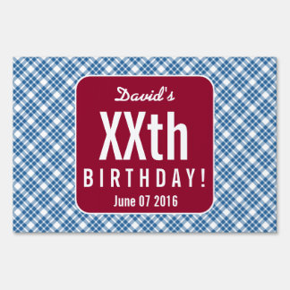 RUBY RED PLAID Any Year Birthday Party B07 Sign