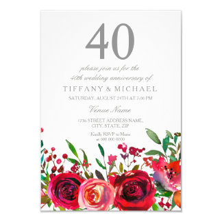 Ruby Red Rose 40th Wedding Anniversary Invitation